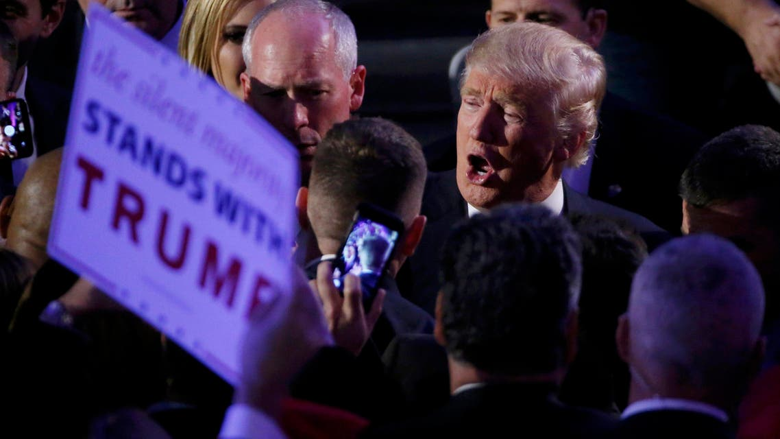 U.S. President-elect Donald Trump greets supporters at his election night rally in Manhattan, New York, U.S., November 9, 2016. (Reuters)