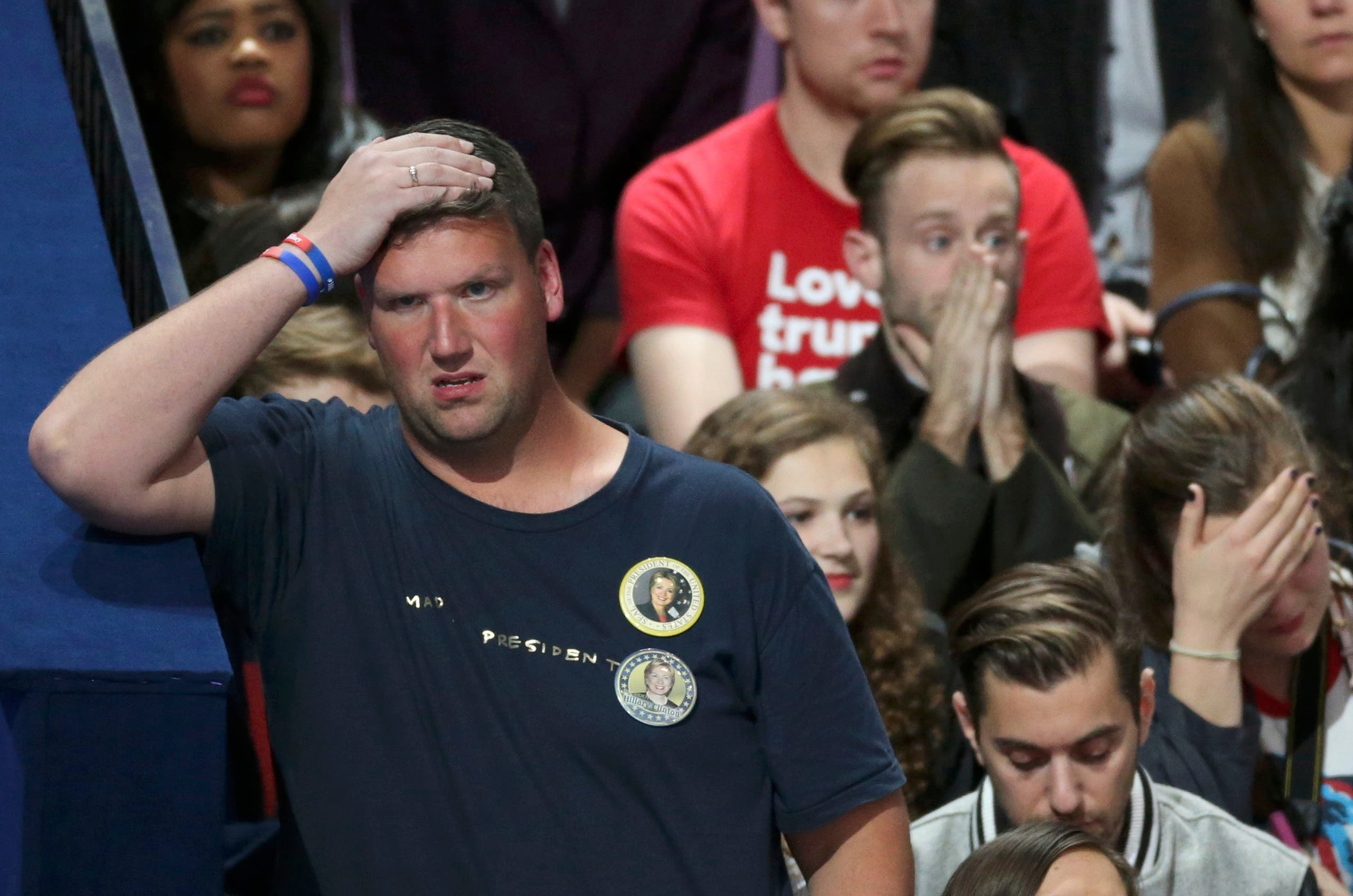Supporters of U.S. Democratic presidential nominee Hillary Clinton react at her election night rally in Manhattan, New York, U.S., November 8, 2016. (Reuters)