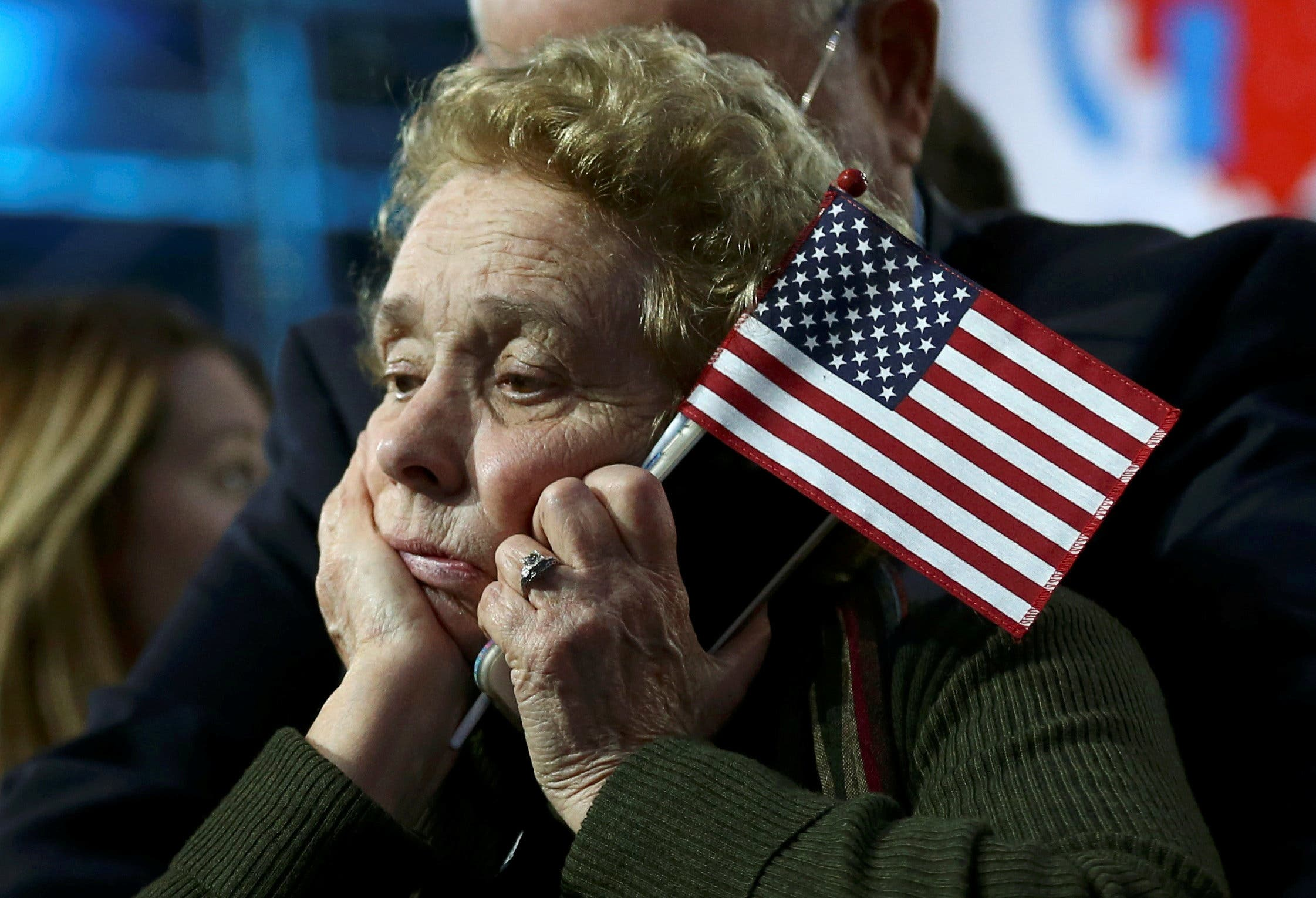 A supporter of Democratic presidential nominee Hillary Clinton watches and waits at her election night rally in New York, U.S., November 8, 2016. (Reuters)