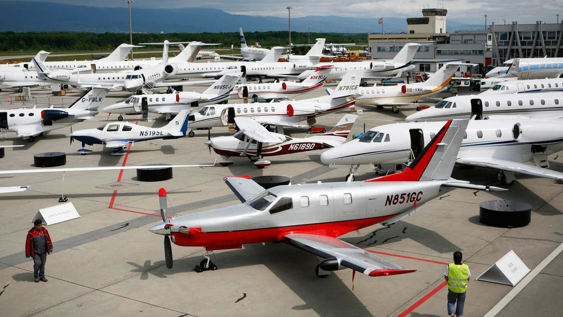 File photo of planes lined up outside the Geneva Palexpo prior to the upcoming European Business Aviation Convention & Exhibition, EBACE, in Geneva, Switzerland. (AP)