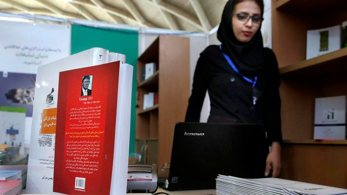 "This picture taken on Tuesday, May 10, 2016 shows, U.S. presidential candidate Donald Trump's book "" Trump 101: The Way To Success"" translated to Persian on display during Tehran's International Book Fair in Iran. AP"