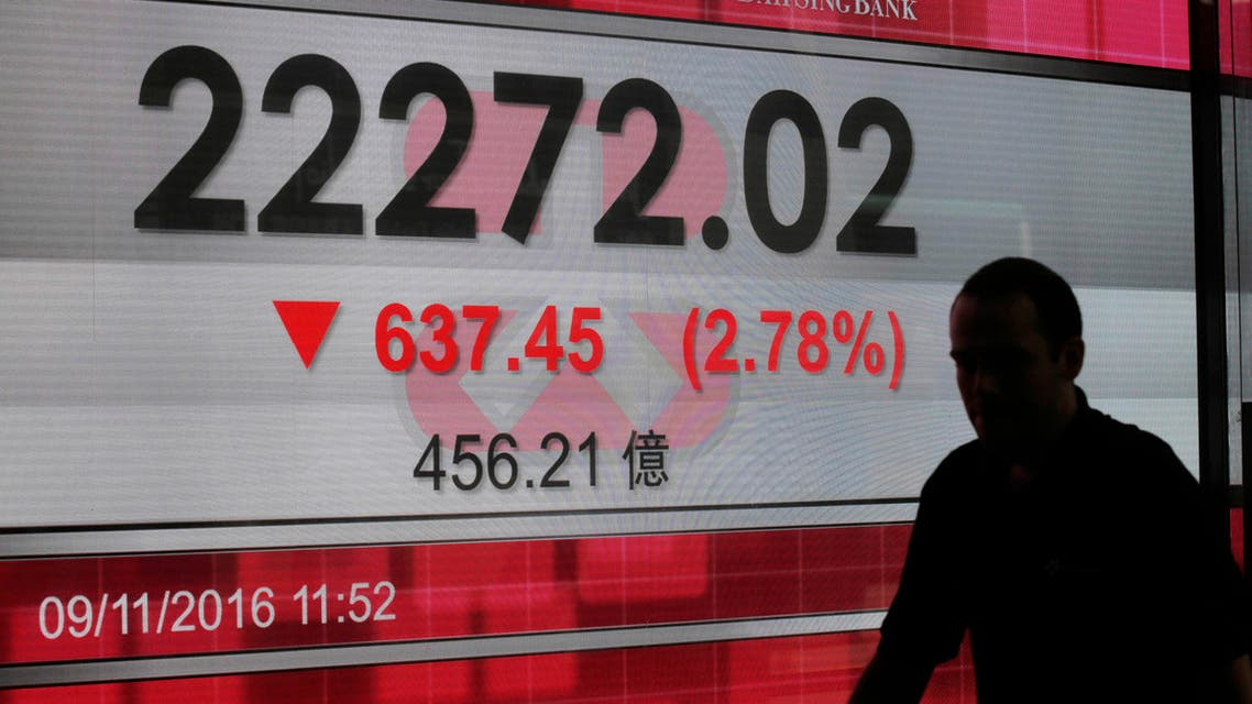 A man walks past a display of the Hang Seng Index at a bank in Hong Kong Wednesday, Nov. 9, 2016. (AP)
