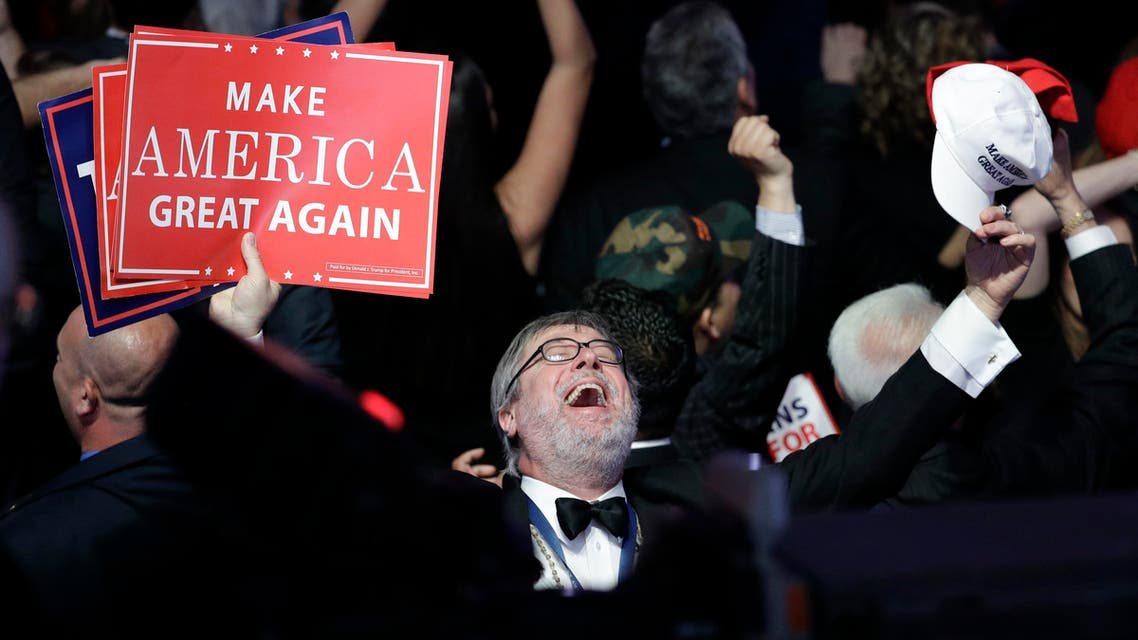Supporters of Republican presidential candidate Donald Trump react as they watch the election results during Trump's election night rally, Tuesday, Nov. 8, 2016, in New York. (AP)