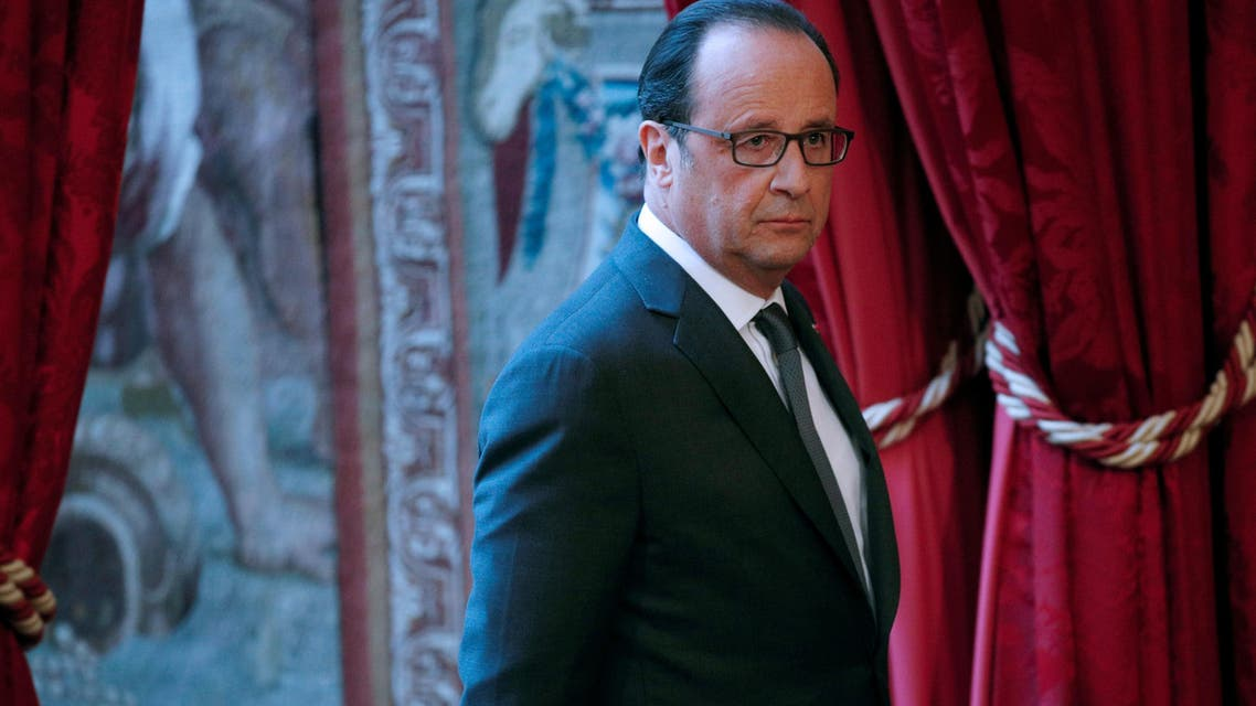 French President Francois Hollande is pictured prior to make a statement at the Elysee Palace in Paris, on November 9, 2016, following the results of US presidential election. (AFP)