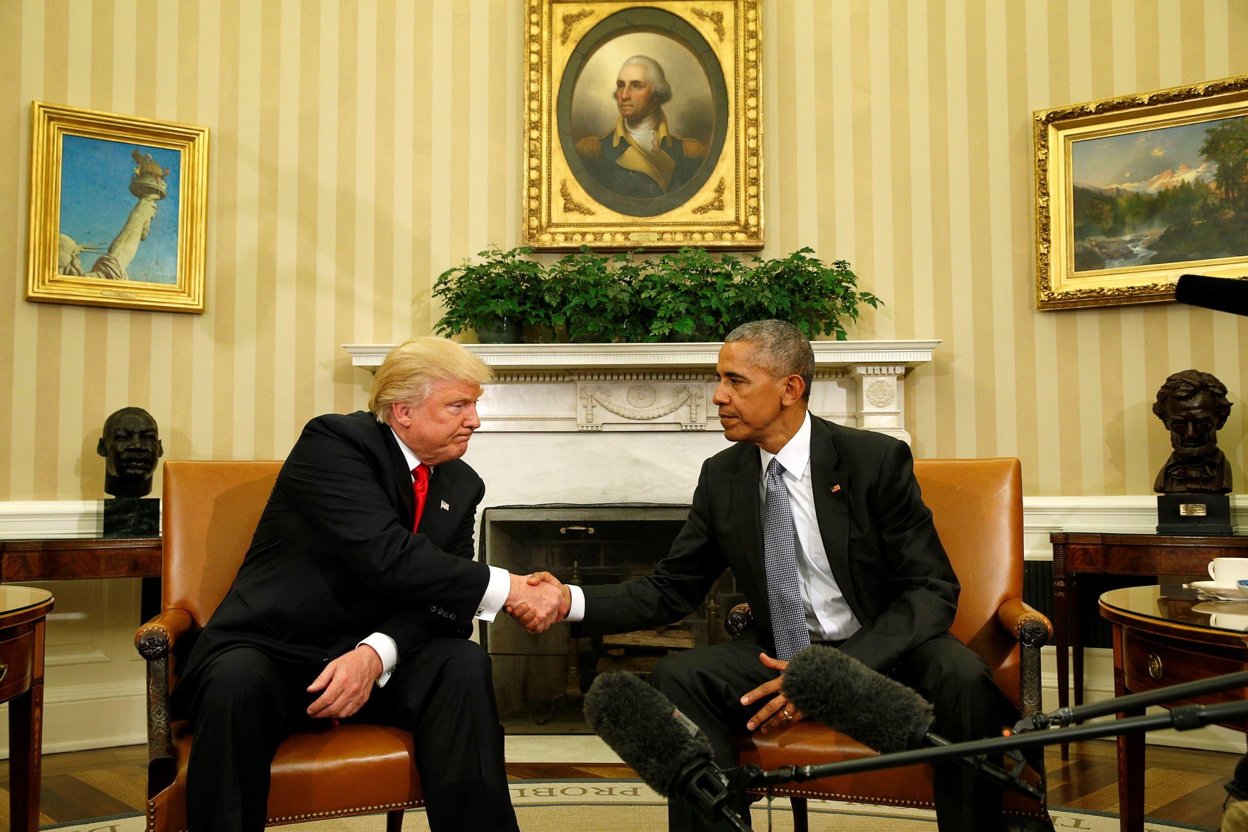 الرئيسان باراك أوباما ودونالد ترمب