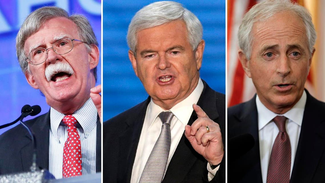 Former House Speaker Newt Gingrich (c), American diplomat John Bolton and junior Senator Bob Corker and were listed as possible candidates. (AP)