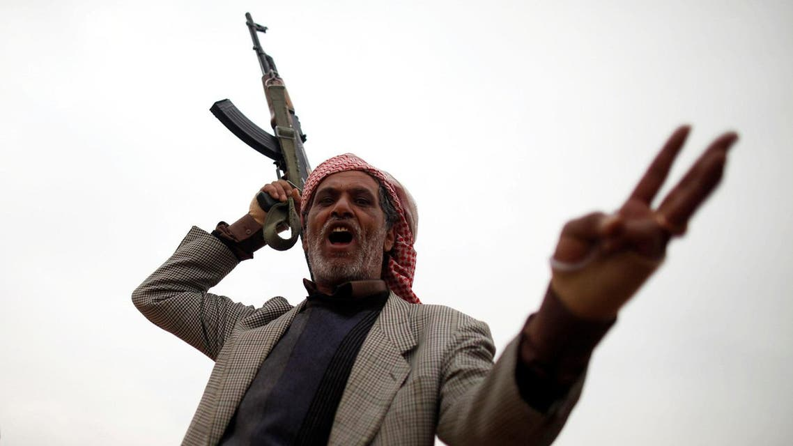 Tribesman reacts during a tribal gathering held to show support to the Houthi movement in Sanaa, Yemen. (Reuters)