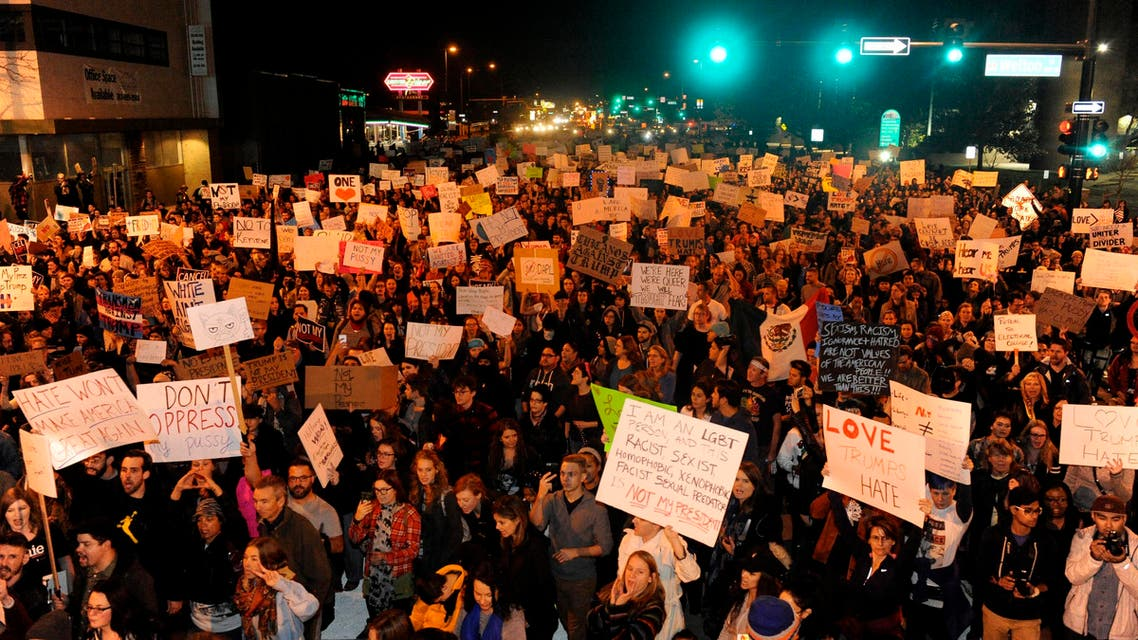 Demonstrators protest the election of President elect Donald Trump in Denver, Colorado on November 10, 2016. (Reuters)