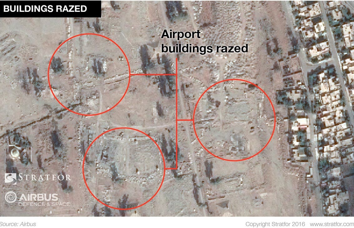 Satellite image shows razed building at the Mosul airport in Iraq. (Reuters)