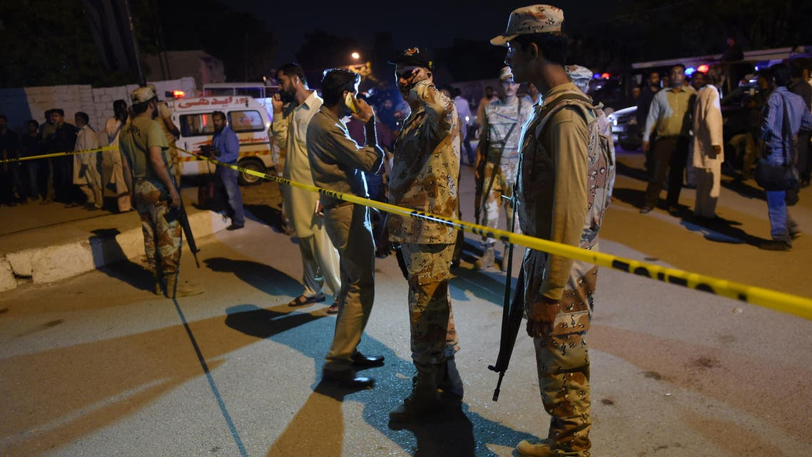 Pakistani rangers cordon the area after an attack on Imambargah (Shia mosque) in Karachi on October 17, 2016