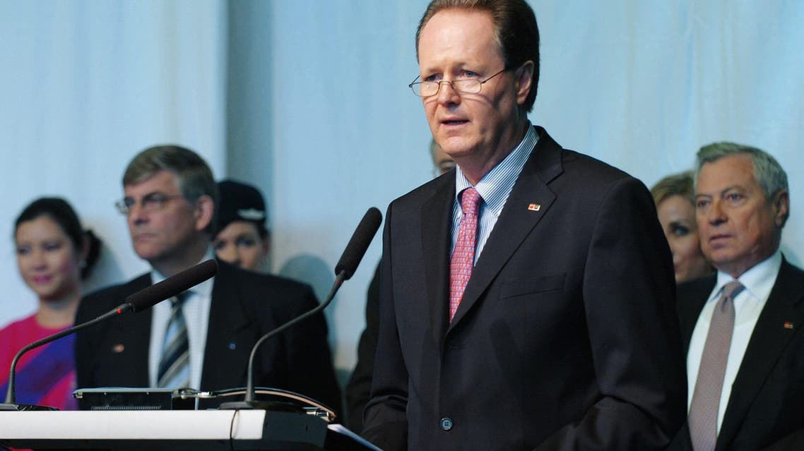 File photo of Jaan Albrecht, former CEO of Star Alliance, speaks during the ceremony of the merger of Swiss International Airlines with Star Alliance. (AP)