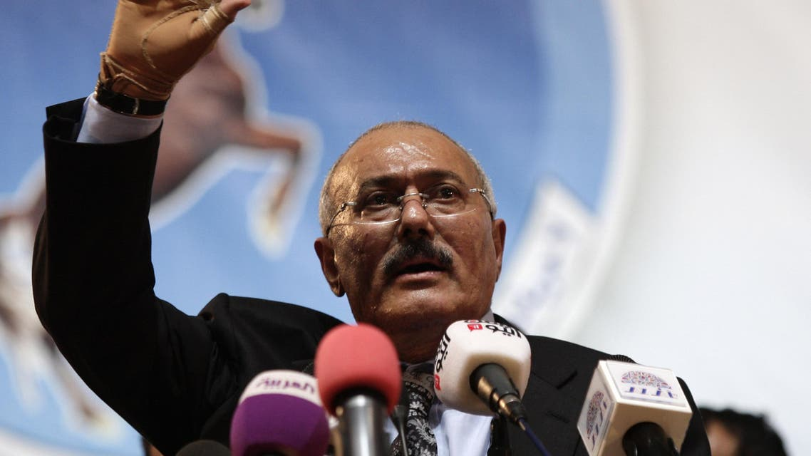 Former Yemen's President Ali Abdullah Saleh waves to supporters during a ceremony marking the 30th anniversary of his General People's Congress party (GPC) establishment in Sanaa, Yemen, Monday, Sept. 3, 2012. AP