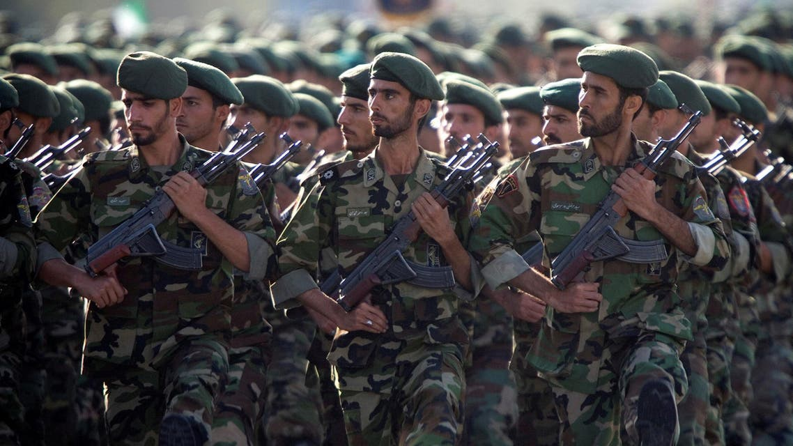 Iranian armed forces members march in a military parade marking the 36th anniversary of Iraq's 1980 invasion of Iran, in front of the shrine of late revolutionary founder Ayatollah Khomeini, just outside Tehran, Iran, Wednesday, Sept. 21, 2016. Iran's chief of staff of the armed forces said Wednesday a $38 billion aid deal between the United States and Israel makes Iran more determined to strengthen its military. (AP