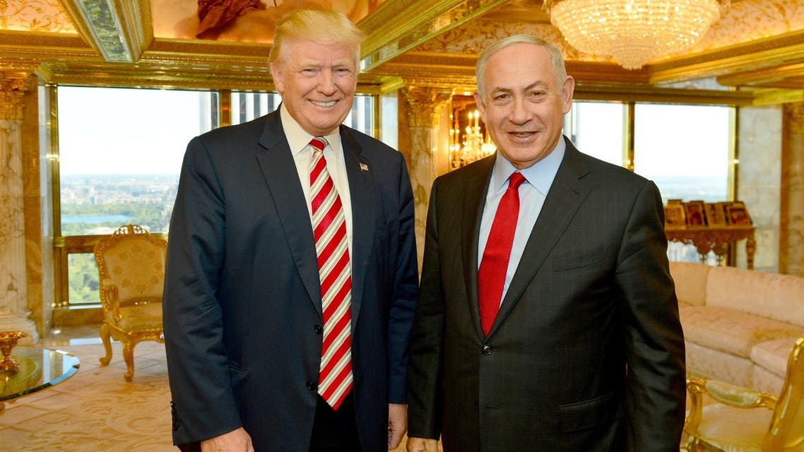sraeli Prime Minister Benjamin Netanyahu (R) stands next to Republican U.S. presidential candidate Donald Trump during their meeting in New York, September 25, 2016. Kobi Gideon/Government Press Office (GPO)/Handout via REUTERS