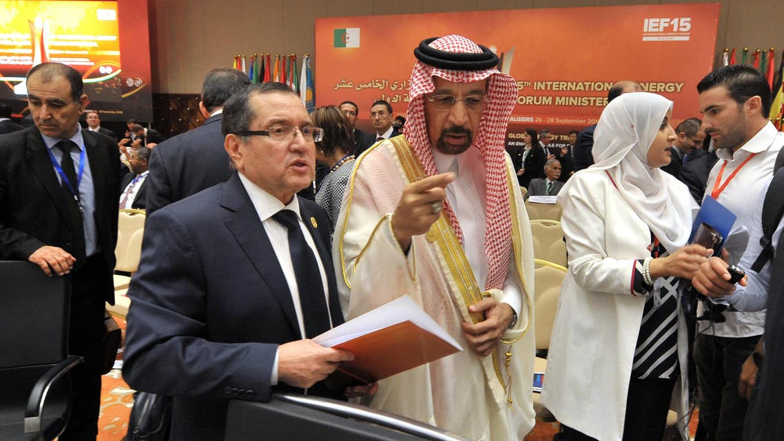 Algeria's Minister of Energy Noureddine Boutarfa, left, listens to Khalid Al-Falih Minister of Energy, Industry and Mineral Resources of Saudi Arabia as part of the 15th International Energy Forum Ministerial meeting in Algiers, on Sept. 27, 2016. (AP)