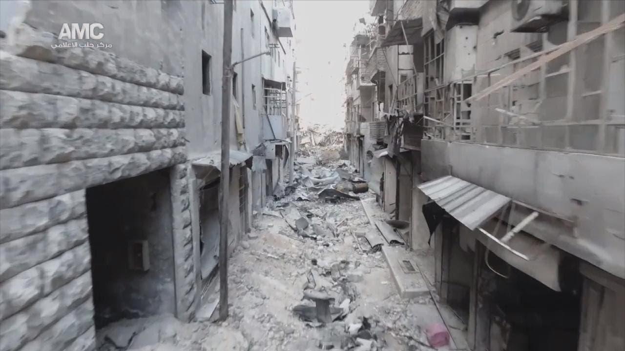 جانب من الدمار الهائل في المدينة