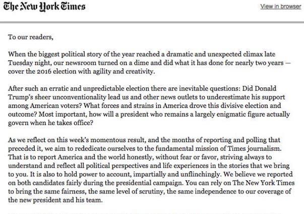 جزء من الخطاب الذي أصدرته الصحيفة لمشتركيها عن الحملة الانتخابية