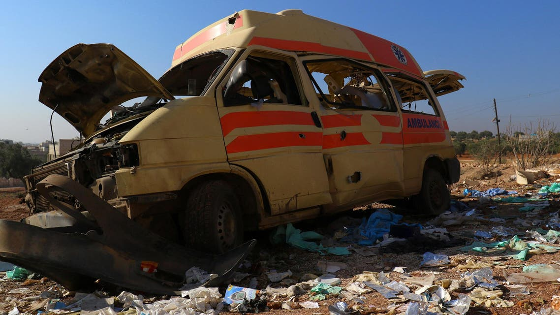 A damaged ambulance is pictured after an airstrike on the rebel-held town of Atareb, in the countryside west of Aleppo, Syria November 15, 2016. (Reuters)