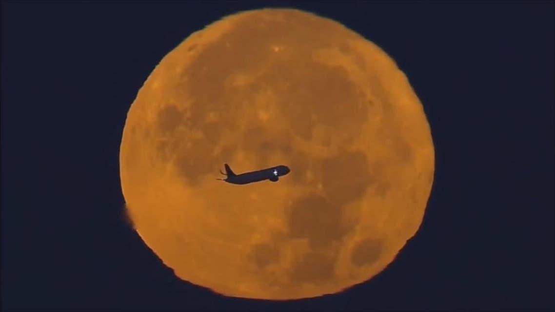 screengrab youtube super moon plane