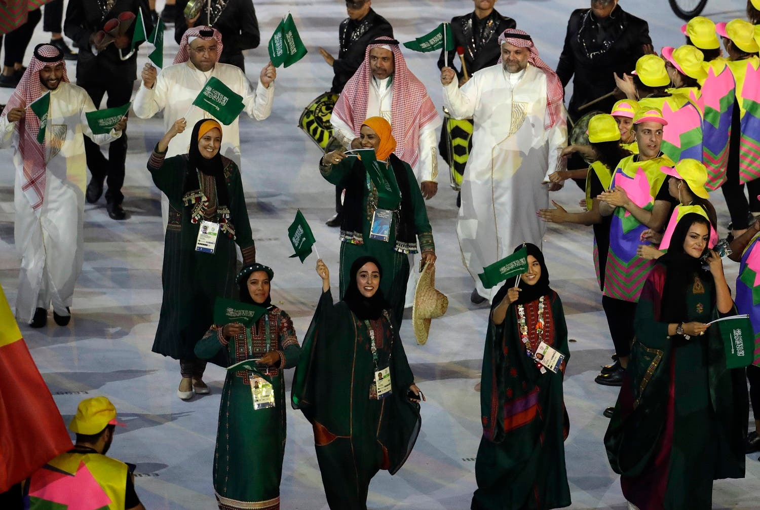 Team Saudi Arabia walks in the arena during the opening ceremony for the 2016 Summer Olympics in Rio de Janeiro, Brazil, Friday, Aug. 5, 2016. (AP)