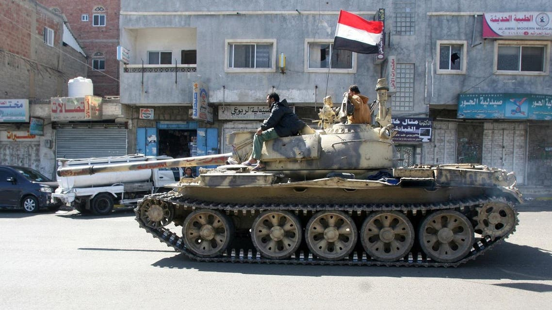 Tank used by pro-government tribal fighters is seen on a street in the southwestern city of Taiz. (Reuters)