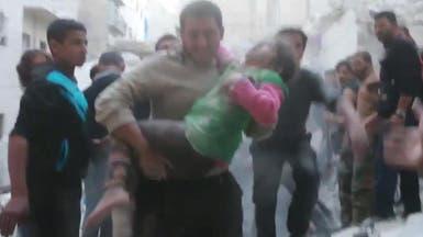 فيديو درامي.. انتشال طفلة من أسفل ركام قصف على حلب