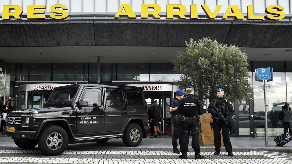 Dutch military police carry out controls at the entrance to Rotterdam Airport in Rotterdam on November 17, 2016, after receiving an anonymous tip-off about a possible terror threat. (AFP)