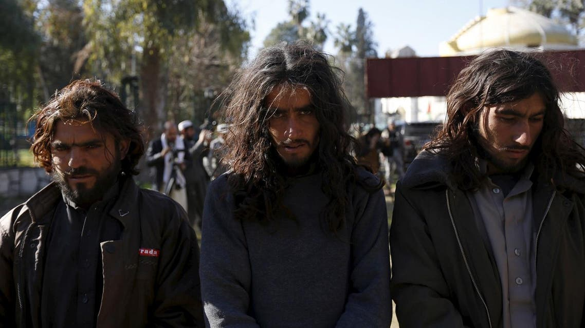 Taliban militants, who were arrested by Afghan border police, stand during a presentation of seized weapons and equipment to the media in Jalalabad. (File photo: Reuters)