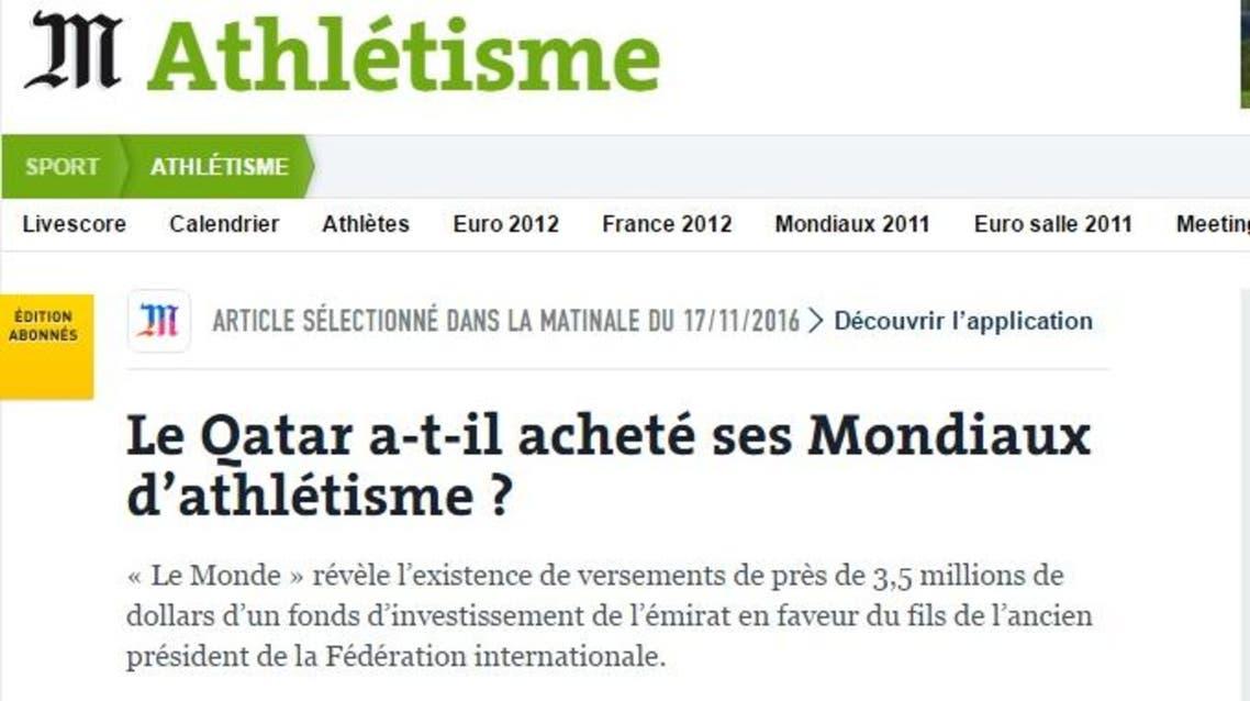 "Le monde qatar Qatar sports federation said it's ""considering"" legal action against French newspaper Le Monde"