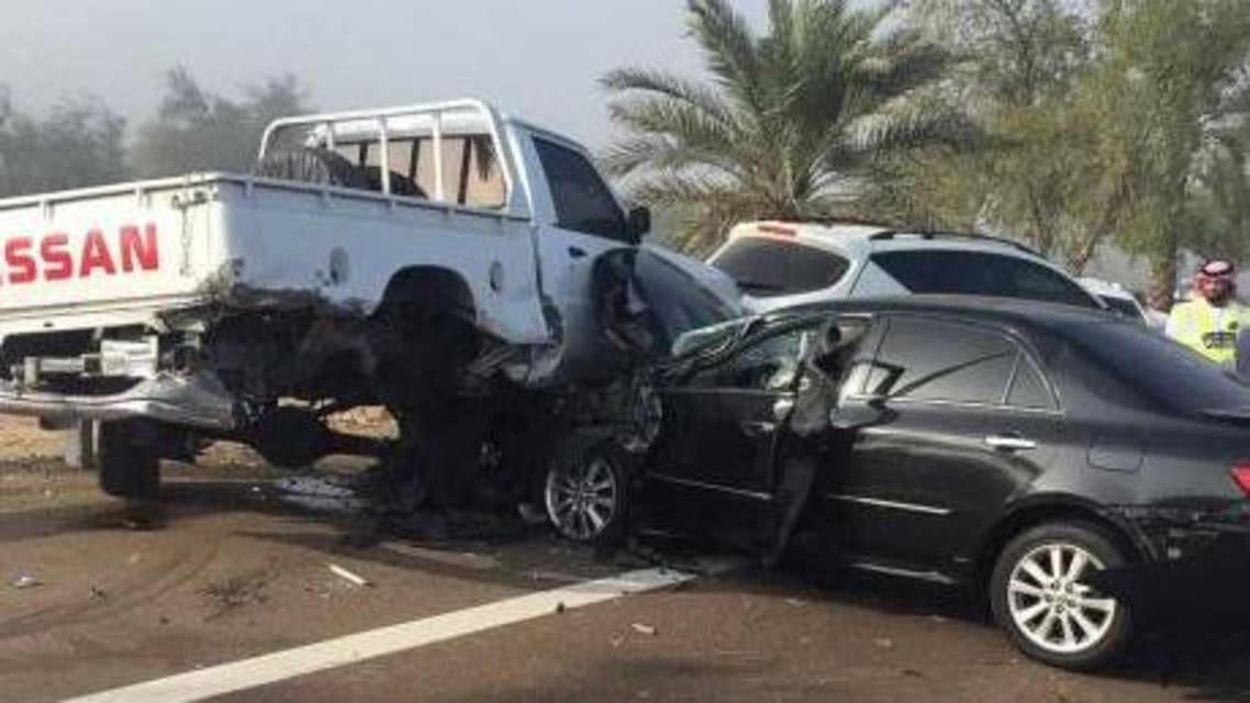 A 25-car collision took place this morning on the Al Ain-Abu Dhabi road. Courtesy Abu Dhabi Police