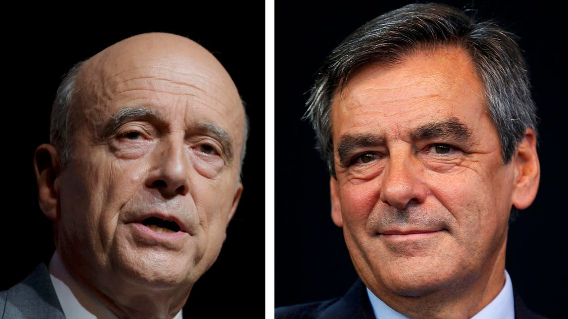 A combination of file photos shows Alain Juppe (L), current mayor of Bordeaux and Francois Fillon, a former prime minister, who lead in the first round French center-right presidential primary election November 20, 2016. Alain Juppe and Francois Fillon, are the top two candidates after results in voting November 20, 2016 in the French center-right presidential primary election.
