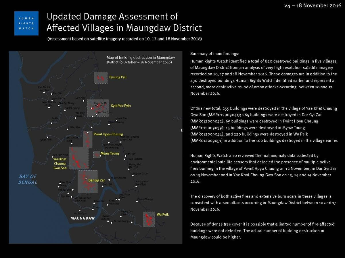 Human Rights Watch identified a total of 820 destroyed buildings in five villages of Maungdaw District from an analysis of very high resolution satellite imagery recorded on 10, 17 and 18 November 2016. (HRW)