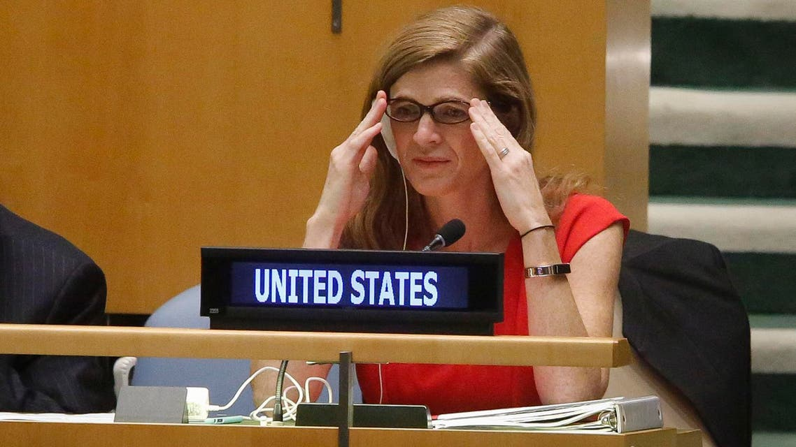 U.S. Ambassador to the U.N. Samantha Power, right, listens during a meeting of the U.N. General Assembly, Wednesday Oct. 26, 2016 at U.N. headquarters. (AP)