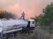 رغم تدخل الإطفاء الروسي.. القرداحة لا تزال تحترق