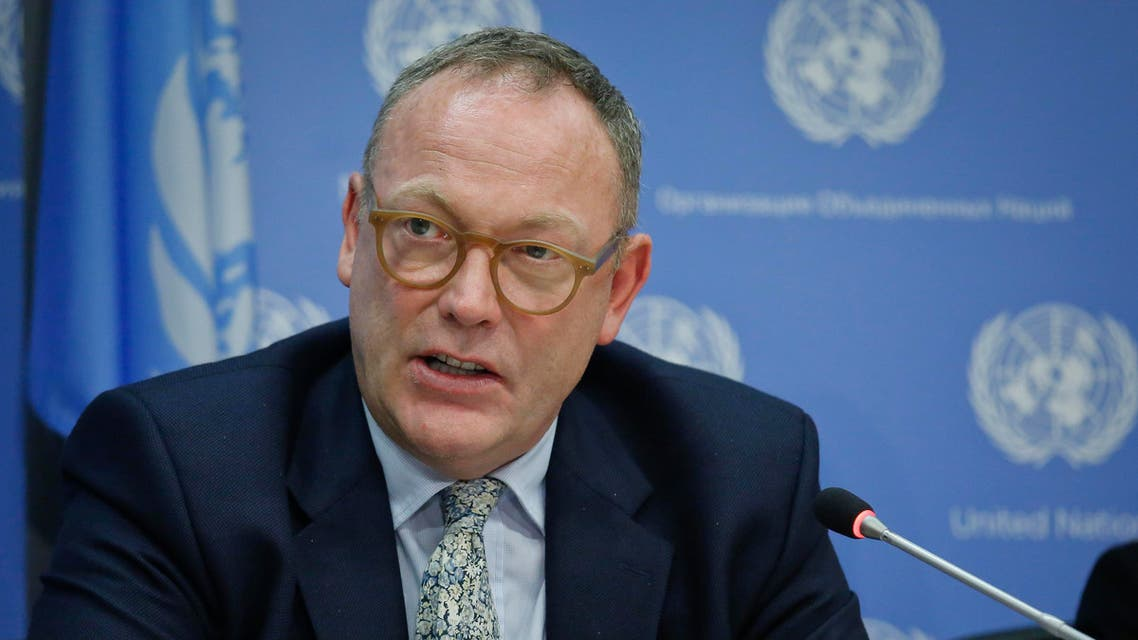 """Ben Emmerson, U.N. special investigator on counter-terrorism and human rights, holds a news conference on migration policies, Friday, Oct. 21, 2016, at U.N. headquarters. Emmerson accused Republican presidential nominee Donald Trump on Friday of peddling """"lies and xenophobia"""" by claiming a link between Syrian refugees and Islamic State extremists. (AP)"""
