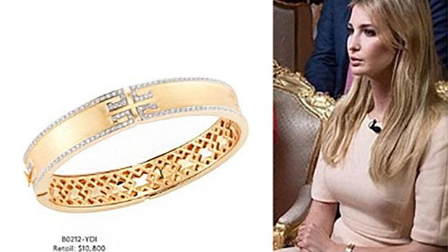 شركة إيفانكا روجت لأسورة إيفانكا الذهبية خلال مقابلة إعلامية حضرتها مع والدها ترمب
