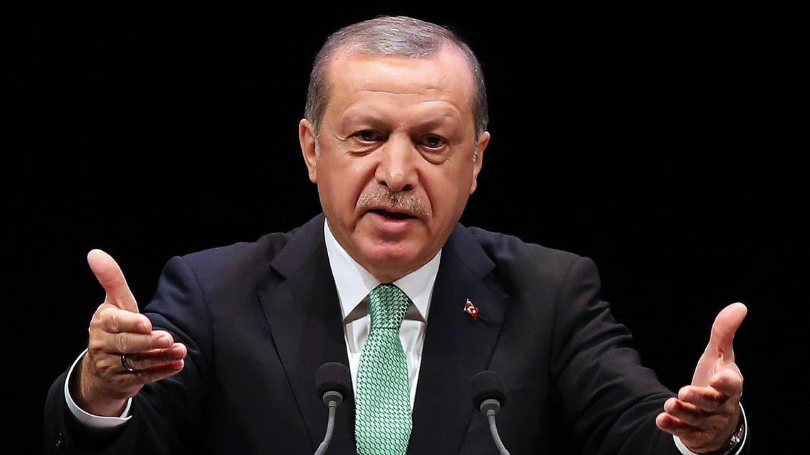 Turkish President Recep Tayyip Erdogan delivers a speech during the Living Human Treasures award ceremony at the Bestepe National Congress and Culture Centre in Ankara on November 3, 2016. ADEM ALTAN / AFP
