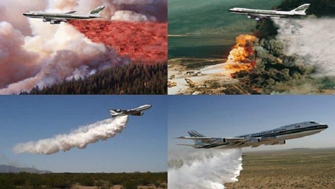 طائرة سوبر تنكر، صهريجية الطراز، وتقصف الحرائق بماء تسقطه بسرعة نزول المطر