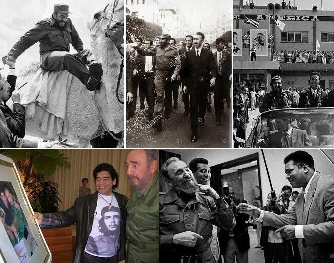 في 1962 استقبل الرئيس الجزائري أحمد بن بن بيلا بهافانا، وحين زار خلفه هواري بو مدين في الجزائر، ركب جملا، كما تحدى الملاكم الراحل محمد علي كلاي أن يلكمه، وكانت له صداقة قصيرة مع مارادونا
