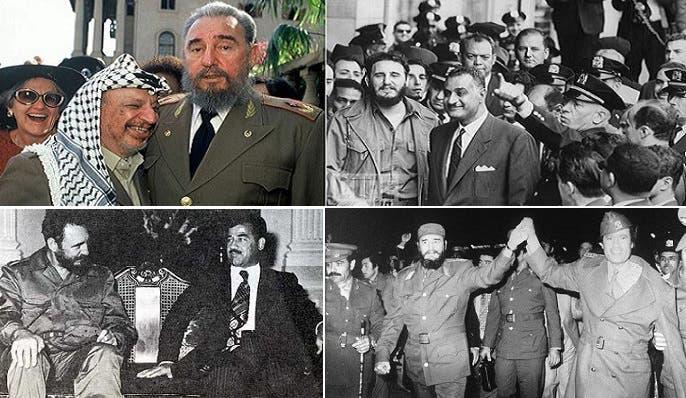 كاسترو مع الراحلين، جمال عبد الناصر وياسر عرفات ومعمر القذافي وصدام حسين
