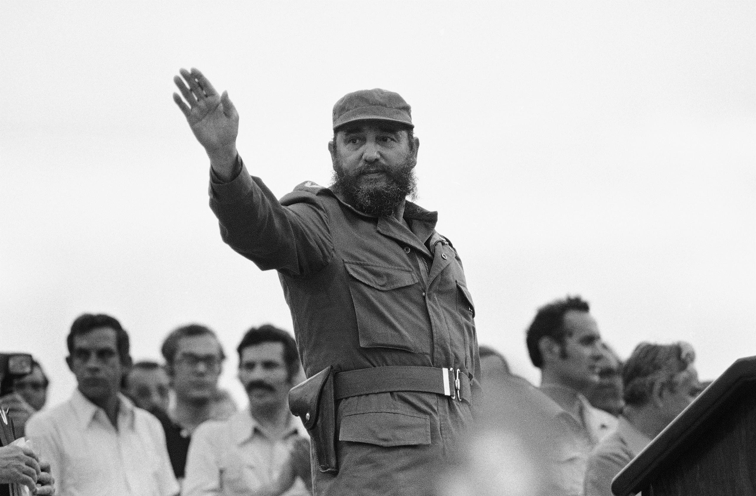 Cuban President Fidel Castro waves to Cubans and participants of the 11th Youth Festival, after his speech at Havana's Revolutionary Square, Jose Marti, where the week-long celebration of the Youth Festival came to an end on August 5, 1978 in Havana, Cuba. (AP)