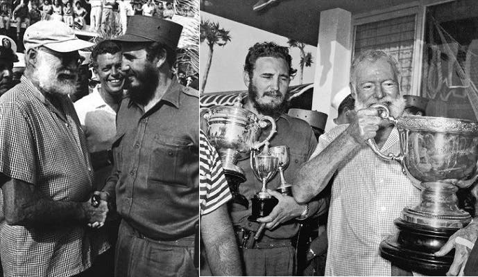 الروائي الأميركي ارنست همنغواي، القتيل منتحرا في 1961 بكوبا، كان له لقاء قبلها بعام مع  كاسترو في هافانا