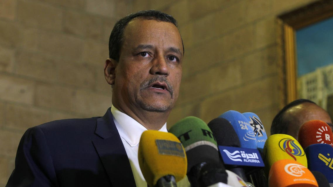 UN Special Envoy for Yemen Ismail Ould Cheikh Ahmed speaks to the press after arriving at Sanaa International Airport for a two-day visit on October 23, 2016 in the Yemeni capital Sanaa. The pro-government Arab coalition stepped up air strikes on Iran-backed rebels in Yemen and clashes raged on the ground as warring parties ignored a UN call to renew a fragile ceasefire. The 72-hour ceasefire took effect just before midnight (2100 GMT) Wednesday to allow aid deliveries in Yemen, whose war has killed thousands of people and left millions homeless and hungry.   MOHAMMED HUWAIS / AFP