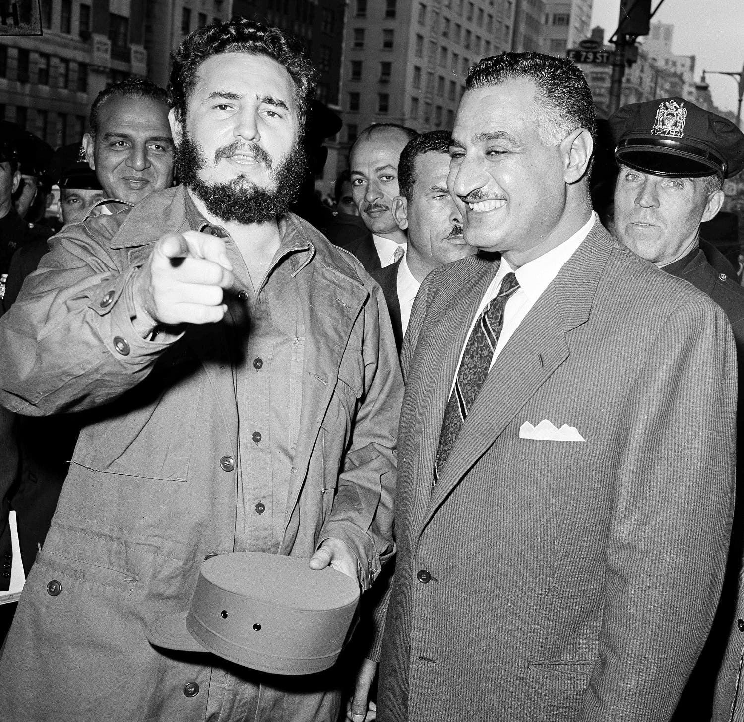 Cuban Prime Minister Fidel Castro, left, and Gamal Abdel Nasser are seen outside the UAR's headquarters in New York, Sept. 28, 1960, after a two-hour conference. (AP Photo/Hans Von Nolde)