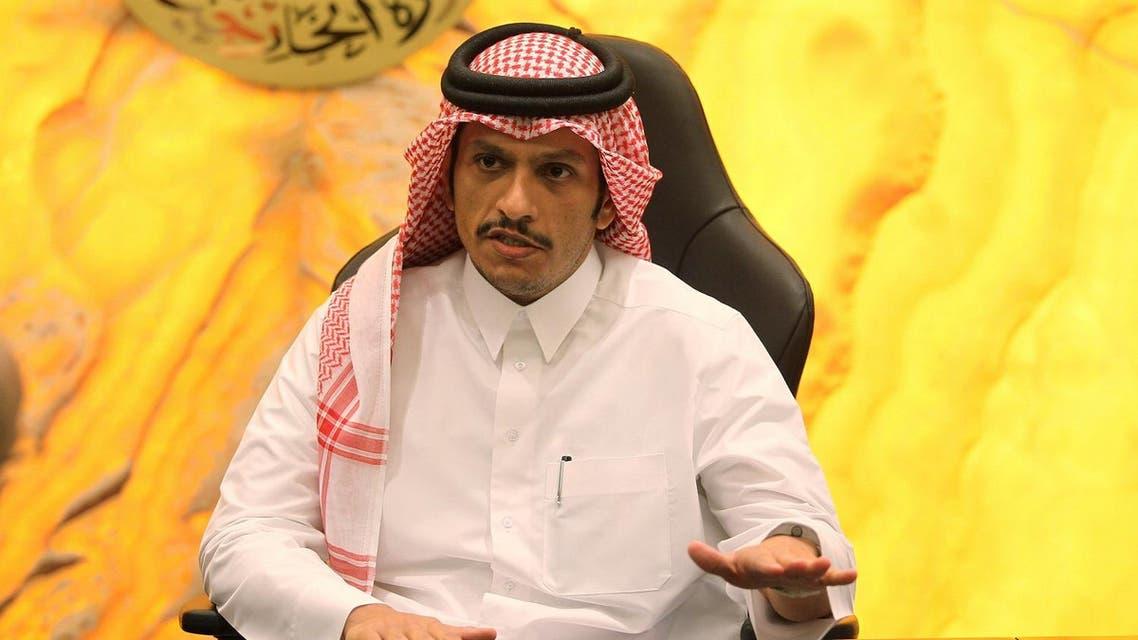 Qatar's Foreign Minister Sheikh Mohammed bin Abdulrahman al-Thani gestures during an interview in Doha. (Reuters)
