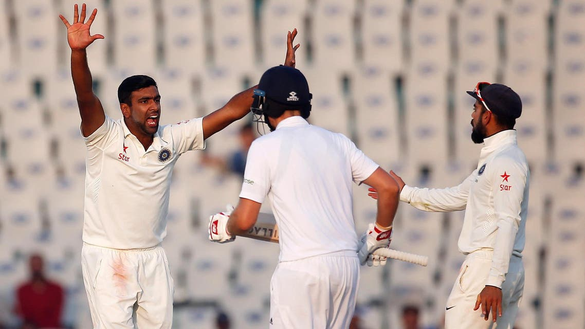 India's Ravichandran Ashwin (left) appeals successfully for the dismissal of England's Ben Stokes. (Reuters)
