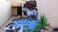 شاهد.. الرسام السوري الذي حول حوش منزله إلى تحفة فنية