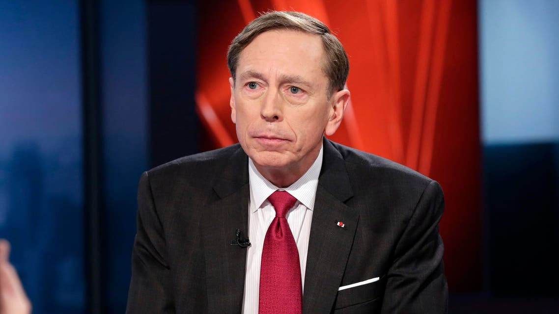 "Former CIA Director and retired Gen. David Petraeus is interviewed by host Anthony Scaramucci and Maria Bartiromo during the taping of the premiere show of ""Wall Street Week,"" on the Fox Business Network, in New York Thursday, March 17, 2016. The original ""Wall Street Week"" aired on PBS for more than 30 years. (AP)"