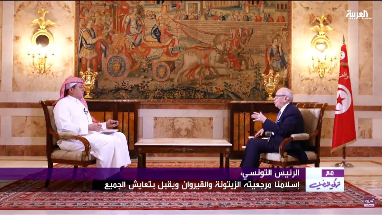 Tunisian President Beji Caid Essebsi speaks with Al-Arabiya's General Manager Turki Aldakhil. (Al Arabiya)