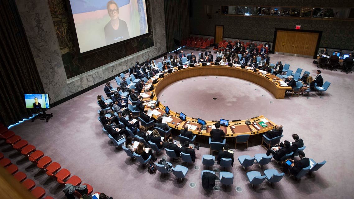 This November 21, 2016 United Nations photo shows a view of the Security Council meeting on the Middle East situation, as on the screen, Elizabeth Hoff, Representative of the World Health Organization (WHO) in Syria, briefs the Council via satellite. The United States on Monday named a dozen Syrian generals and officers accused of leading attacks on civilian targets and running torture prisons, warning they will one day face justice. US Ambassador Samantha Power read out the names at a tense Security Council meeting on Syria, where government forces backed by Russia pressed on with an offensive as the humanitarian crisis reached alarming levels.  Amanda VOISARD / UNITED NATIONS / AFP